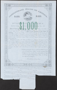 (Montgomery), AL- State of Alabama Bond $1,000 1862 Cr. 61E Fine