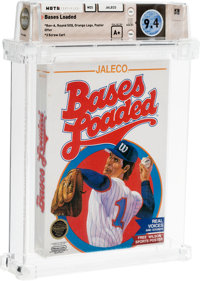 Bases Loaded [Rev-A, Round SOQ, Orange Logo, Poster Offer, Early Production] Wata 9.4 A+ Sealed NES Jaleco 1988 USA