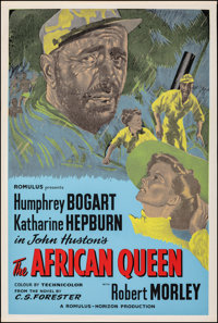 "The African Queen (Romulus, R-1950s). Rolled, Very Fine. British Silk Screen One Sheet (27"" X 40""). Adventure..."