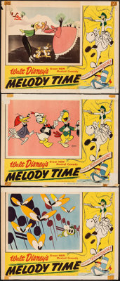 """Melody Time (RKO, 1948). Folded, Fine. Lobby Cards (3) (11"""" X 14""""). Animation. ... (Total: 3 Items)"""