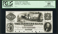 Freehold, NJ- The Farmers Bank $2 July 4, 1851 ProofPCGS Apparent Very Choice New 64