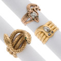 Estate Jewelry:Rings, Diamond, Emerald, Glass, Gold Rings. ... (Total: 3 Items)