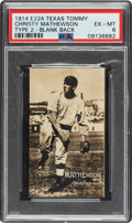 Baseball Cards:Singles (Pre-1930), 1914 E224 Texas Tommy Christy Mathewson Type 2 Blank Back PSA EX-MT 6....
