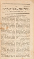 Books:Americana & American History, [U. S. Constitution]. The Worcester Magazine, Volume III, Number XXVI, September, 1787 Early Printing of the Const...