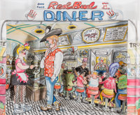 Red Grooms (b. 1937) Red Bud Diner, 1994 Three-dimensional litho-crayon and watercolor cutout constr