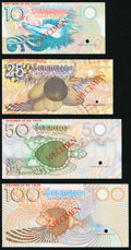 World Currency, Seychelles Seychelles Monetary Authority 10; 25; 50; 100 Rupees ND (1979) Pick 23s; 24s; 25s; 26s Specimens Choice Crisp U... (Total: 4 notes)