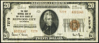 Redwood City, CA - $20 1929 Ty. 2 The First National Bank of San Mateo County Ch. # 7279 Very Fine