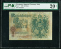 World Currency, Germany Imperial Treasury Note 50 Mark 30.4.1899 Pick 7 PMG Very Fine 20 Net.. ...