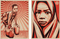 Prints & Multiples, Shepard Fairey X L.E.A.D.. Uganda Blanket and Yellow Cans (two works), 2009. Screenprints in colors on speckled crea... (Total: 2 Items)