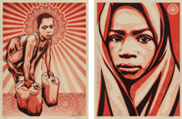 Shepard Fairey X L.E.A.D. Uganda Blanket and Yellow Cans (two works), 2009 Screenprints i