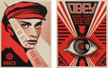 Prints & Multiples, Shepard Fairey (b. 1970). Your Eyes Here and Obey Eye (two works), 2010. Screenprints in colors on speckled cream pa... (Total: 2 Items)