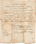 "Books:Americana & American History, James Maury. [1803 Document Signed as Consul of the United States of America, For the Port of Liverpool]. ""James M..."