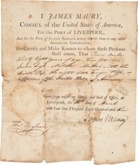 "James Maury. [1803 Document Signed as Consul of the United States of America, For the Port of Liverpool]. ""James Ma..."