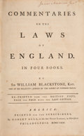 Books:Americana & American History, [James Madison]. Sir William Blackstone, Knt. Commentaries on the Laws of England. In Four Books. Re-Printed from ...