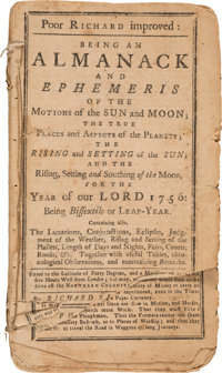[Benjamin Franklin]. Poor Richard Improved. Being an Almanack and Ephemeris of the Motions of the Sun and Moon