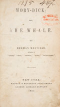Books:Literature Pre-1900, Herman Melville. Moby-Dick; or, The Whale. New York: Harper & Brothers, 1851. First U. S. edition....