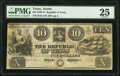 Austin, TX- Republic of Texas $10 1841 PMG Very Fine 25