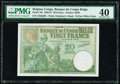 World Currency, Belgian Congo Banque du Congo Belge 20 Francs 15.9.1937 Pick 10f PMG Extremely Fine 40.. ...