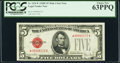 Fr. 1531* $5 1928F Wide I Legal Tender Star Note. PCGS Choice New 63PPQ