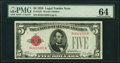 Fr. 1525 $5 1928 Legal Tender Note. PMG Choice Uncirculated 64