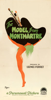 """The Model from Montmartre (Paramount, 1928). Very Good- on Linen. Three Sheet (41"""" X 80.5"""") Original French Ti..."""