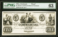 Cincinnati, OH- Commercial Bank of Cincinnati $5 18__ as G8 Wolka 0425-016 Proof PMG Choice Uncirculated 63