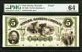 Obsoletes By State:New Jersey, Newark, NJ- Newark Banking Company $5 Feb. 1, 1861 G14a Wait 1500 Proof PMG Choice Uncirculated 64.. ...