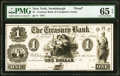 Obsoletes By State:New York, Scottsburgh, NY- Treasury Bank of Livingston County $1 May 15, 1851 UNL Proof PMG Gem Uncirculated 65 EPQ....