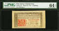 New Jersey March 25, 1776 6s PMG Choice Uncirculated 64 EPQ