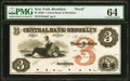 Obsoletes By State:New York, Brooklyn, NY- Central Bank of Brooklyn $3 G6a Proof PMG Choice Uncirculated 64.. ...