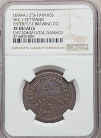 Hawaii 2 TS-19 Brass W.C.J. Ottmann, Enterprise Brewing Co. -- Environmental Damage -- NGC Details. XF