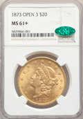 1873 $20 Open 3 MS61+ NGC. CAC. NGC Census: (2511/1078 and 45/62+). PCGS Population: (2459/1897 and 0/135+). CDN: $1,631...