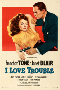"""I Love Trouble (Columbia, 1948). Very Fine+ on Linen. One Sheet (27"""" X 41"""")"""