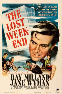 "The Lost Weekend (Paramount, 1945). Very Fine+ on Linen. One Sheet (27"" X 41"")"