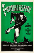 "Movie Posters:Horror, Frankenstein (Universal, R-1960s). Very Fine- on Linen. One Sheet (27"" X 41.5"") Green Style.. ..."