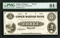 Wabash, IN- Upper Wabash Bank $3 Apr. 3, 1854 G4 Wolka 2480-03 Proof PMG Choice Uncirculated 64 EPQ