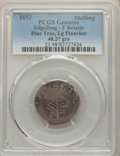 Colonials, 1652 SHILNG Pine Tree Shilling, Large Planchet -- Edge Damaged, Damage -- PCGS Genuine. Fine Details. ...