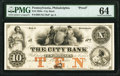 Obsoletes By State:Pennsylvania, Philadelphia, PA- City Bank $10 18__ as G8a Hoober as 305-176 Proof PMG Choice Uncirculated 64.. ...