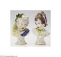 Ceramics & Porcelain, A PAIR OF FRENCH PORCELAIN BUSTS (Unknown) . Unknown, c.1890. Molded to depict two children, one blonde and one brunette, ... (Total: 2 Items)