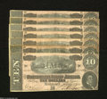 Confederate Notes:1864 Issues, T68 $10 1864 Seven Examples.... (7 notes)