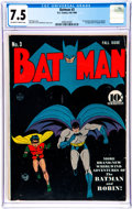 Golden Age (1938-1955):Superhero, Batman #3 (DC, 1940) CGC VF- 7.5 Off-white to white pages....