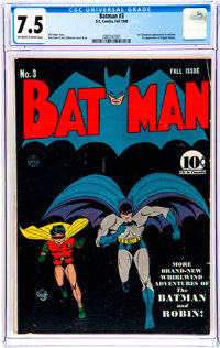 Batman #3 (DC, 1940) CGC VF- 7.5 Off-white to white pages