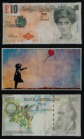 Collectible, Banksy X Banksy of England. Di-Faced Tenner, 10 GBP Note (two works), 2005. Offset lithograph in colors on paper. 3 x 5-...