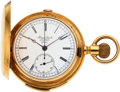 Timepieces:Pocket (pre 1900) , Henry Sandoz, Le Locle, 18k Gold Five Minute Repeater With Chronograph, circa 1895. ...