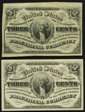 Fr. 1226 3¢ Third Issue Two Examples Extremely Fine-About Uncirculated or Better. ... (Total: 2 notes)