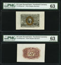 Fractional Currency:Second Issue, Fr. 1283SP 25¢ Second Issue Wide Margin Face PMG Choice Uncirculated 63;. Fr. 1283SP 25¢ Second Issue Wide Margin Back PMG... (Total: 2 notes)