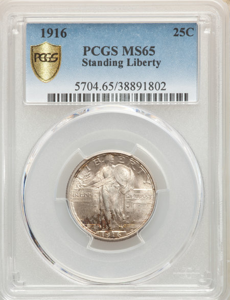 1916 25C Standing Liberty PCGS Secure 65 PCGS