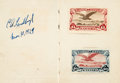 Books:Americana & American History, [Charles Lindbergh]. Charles Lindbergh Signed and Dated Mexican Post Office Inaugural International Air Mail Souvenir Stamp Al...