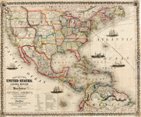 Thayer, Bridgman & Fanning. Map of the United States, Canada, Mexico and the West Indies with Central America. New Y...