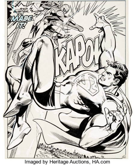 Ross Andru, Neal Adams, Dick Giordano, and Terry Austin Superman vs. The Amazing Spider-Man #nn Splash Page 50 Ori...